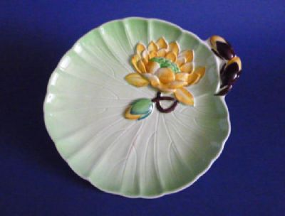Lovely 1930s Carlton Ware Plate - Green with Yellow Water Lily